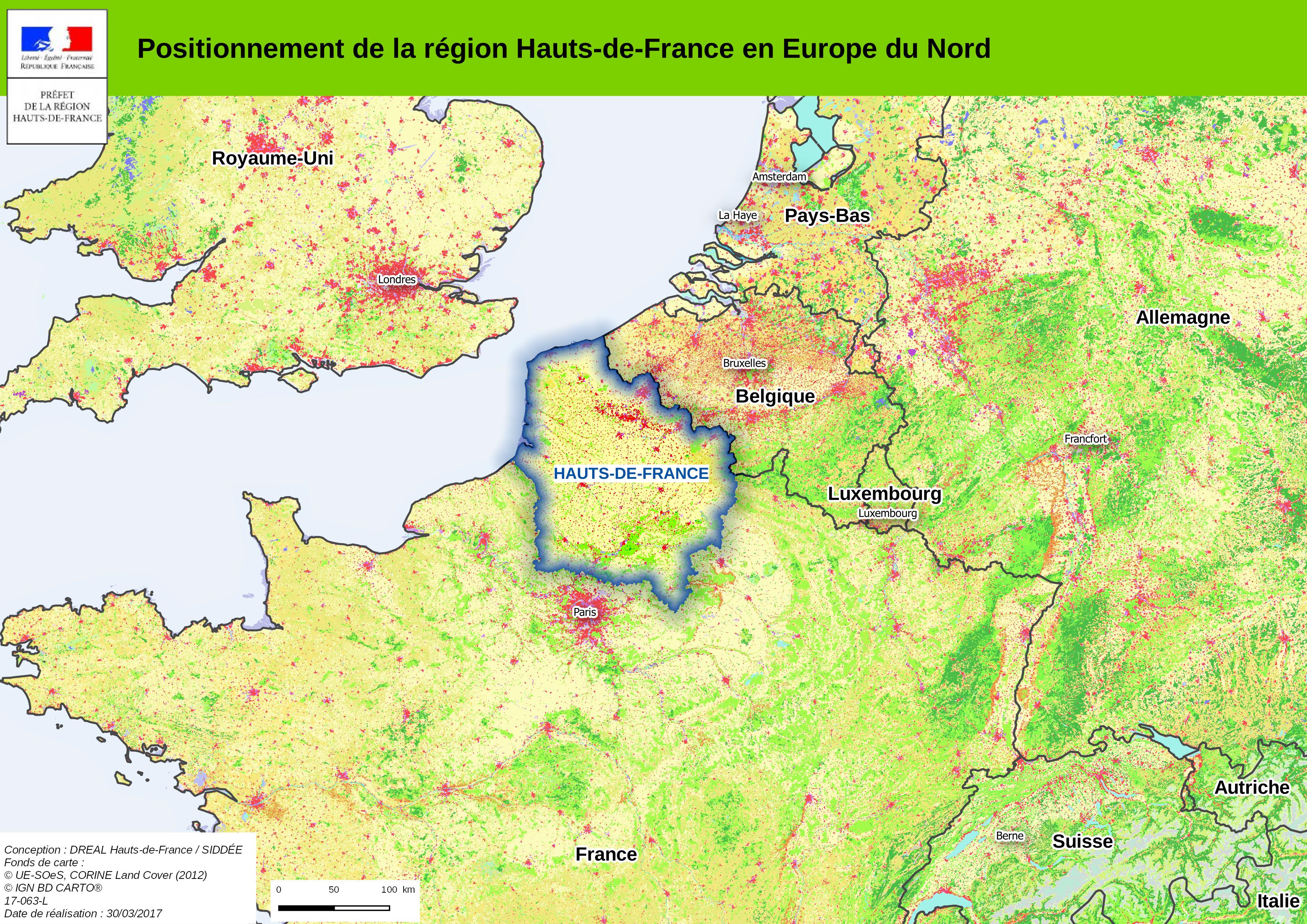 Positionnement de la région Hauts-de-France en Europe du Nord